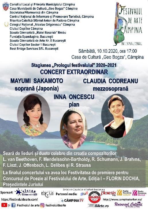 """Stagiunea """"Prologul festivalului"""" 2020–2021  .CONCERT EXTRAORDINAR .MAYUMI SAKAMOTO soprană (Japonia), ,CLAUDIA CODREANU mezzosoprană si INNA ONCESCU pian"""