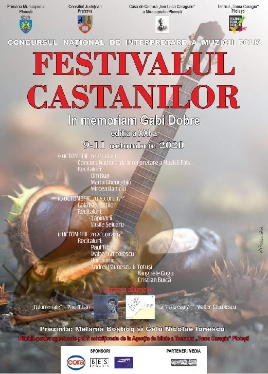 """Programul Festivalului Concurs Naţional de Interpretare a Muzicii Folk """"Festivalul Castanilor – In memoriam Gabi Dobre"""" 2020"""