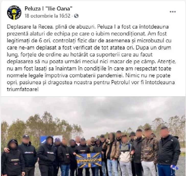 """Suporterii echipei Petrolul Ploieşti,"""" trataţi"""" aparte în deplasarea de la Recea"""