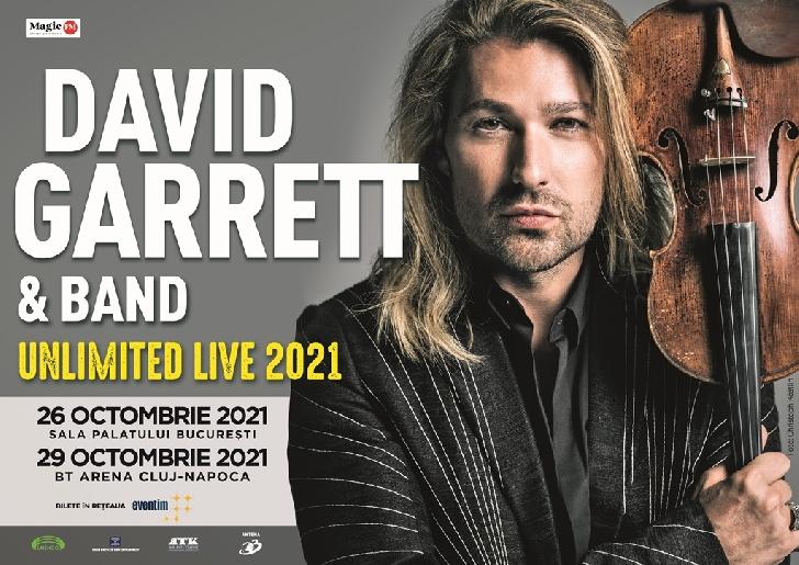 """TURNEUL MONDIAL """"UNLIMITED LIVE"""" AL ARTISTULUI DAVID GARRETT  A FOST REPROGRAMAT PENTRU 2021"""