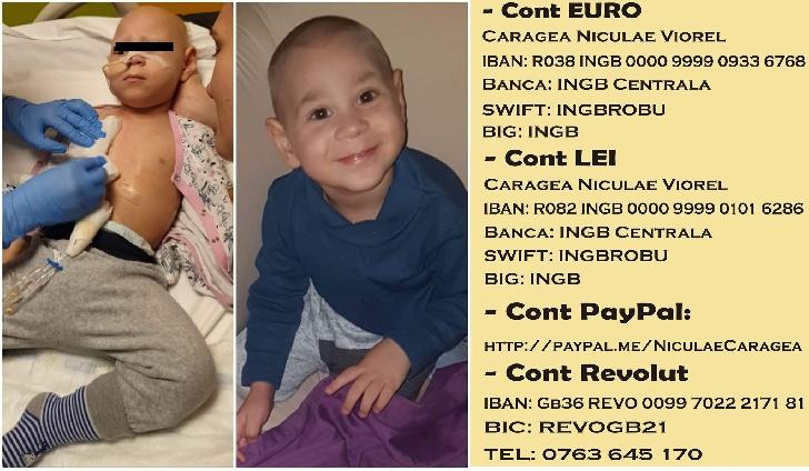Un băieţel în vârstă de 3 ani, diagnosticat cu neuroblastom grad 4, are nevoie de ajutorul nostru (video)
