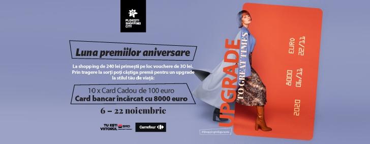 """Ploieşti Shopping City lansează campania aniversară """"UPGRADE to Great Times"""", cu premii instant şi soluţii adaptate noilor nevoi de shopping"""