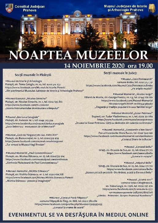 Noaptea muzeelor in Prahova  . Programul evenimentelor