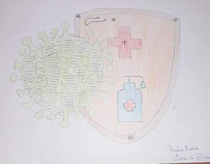 Pe timpul pandemiei de Covid 19 elevii de la Şcoala Gimnazială din comuna Cărbuneşti, au realizat desene tematice