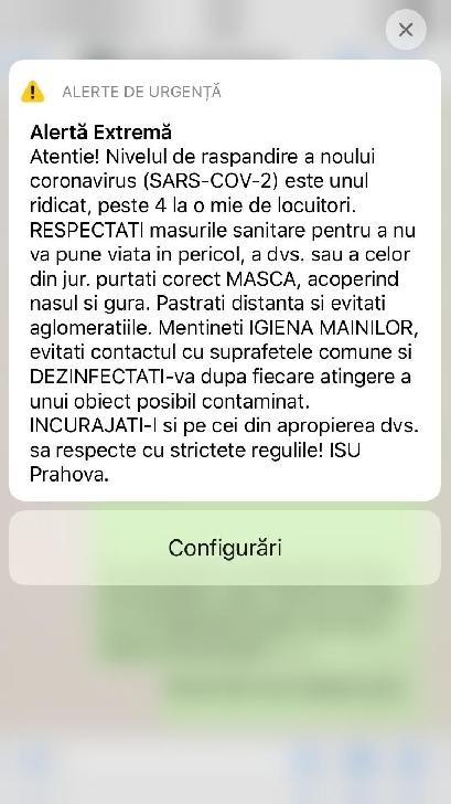 Mesaj Ro-Alert privind răspândirea Covid 19 în judeţul Prahova. Rata infectării a depăşit peste 4 la o mie de locuitori