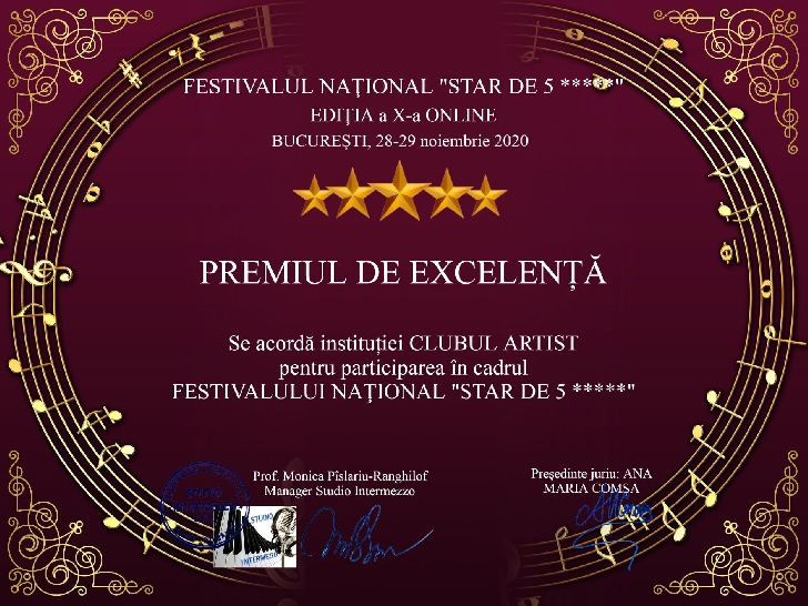 Clubul Artist Ploieşti a câştigat 31 de diplome şi Titlul de Excelentă la Festivalul Naţional Star de 5 stele, ediţia 2020 (online)