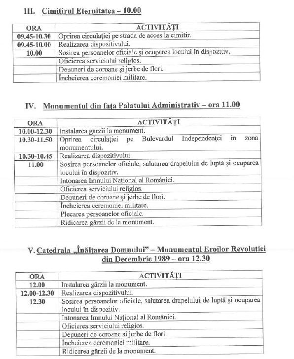 Programul ceremoniilor militare organizate in municipiul Ploiesti in 22 decembrie 2020 (vezi foto)