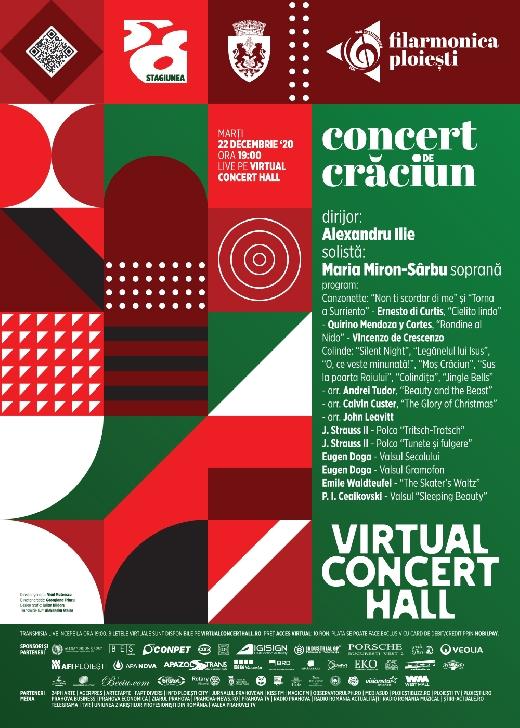 """Concert de Craciun a Filarmonii """"Paul Constantinescu """" Ploiesti , in seara aceasta  pe platforma Virtual Concert Hall"""