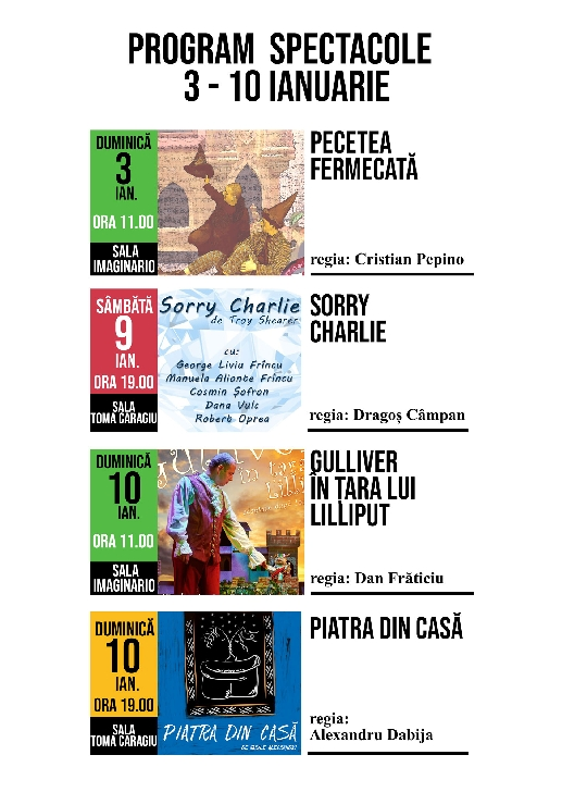 """De duminica,3 ianuarie 2021,Teatrul """"Toma Caragiu"""" Ploiesti isi reia activitatea cu publicul in sala de spectacole"""