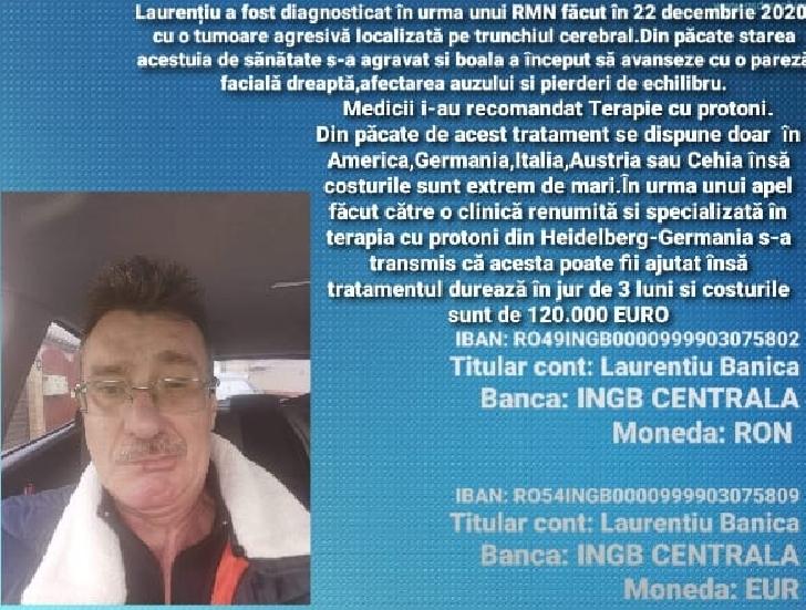 APEL UMANITAR.Un bărbat din Buzău, diagnosticat cu o tumoare agresivă localizată pe trunchiul cerebral are nevoie URGENTĂ de terapie cu protoni