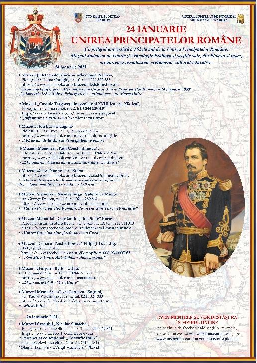 24 ianuarie 2021 - 162 de ani de la Unirea Principatelor Române , evenimente la muzeele din Prahova