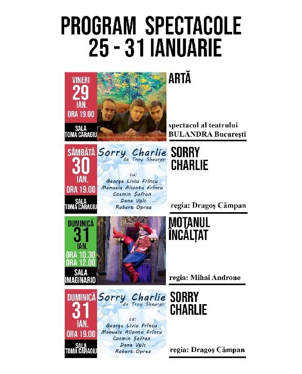 """Teatrul """"Toma Caragiu """" Ploiesti . Programul spectacolelor din perioada 25-31 ianuarie 2021"""