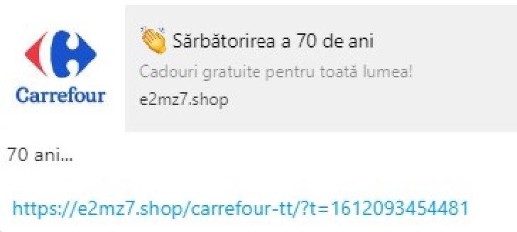 ATENTIE VIRUS  PE WHATSAPP,frauda in numele Carrefour . Nu deschideti acel link