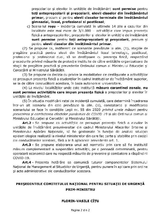 Comitetul Naţional pentru Situaţii de Urgenţă -Comunicat  privind reluarea activităţilor în unităţile de învăţământ, începând cu 8 februarie