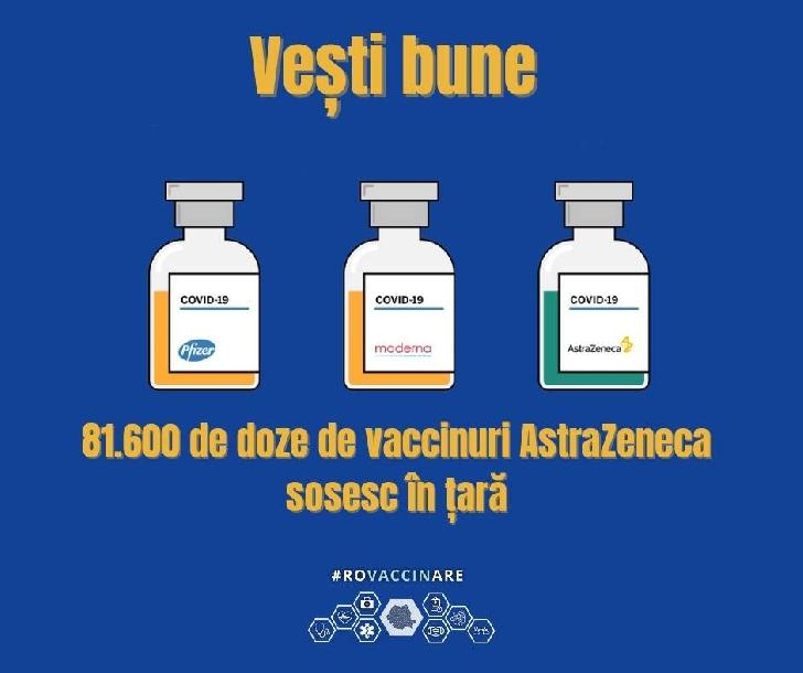 Vaccinul AstraZeneca a ajuns în România (video)