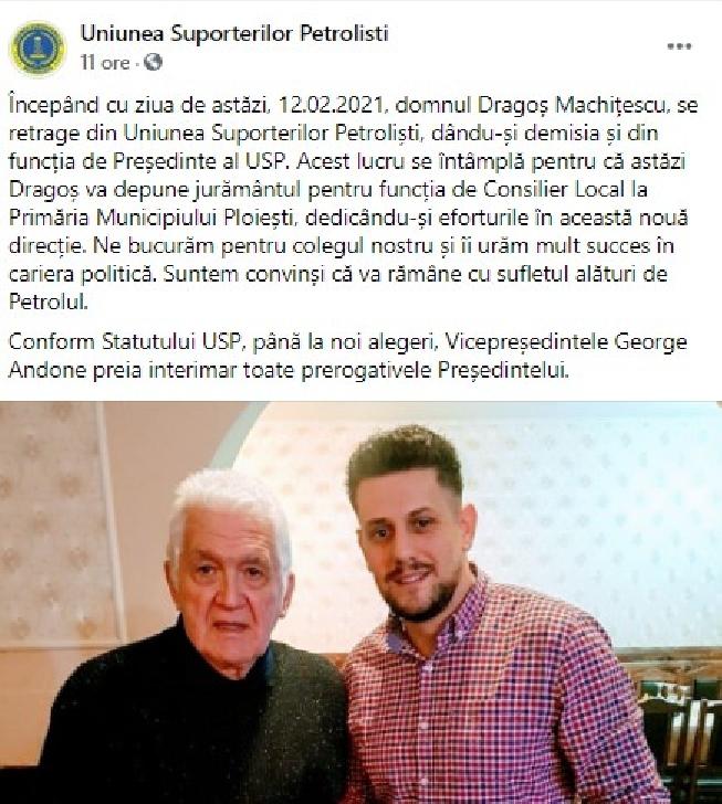 Comunicat Uniunea Suporterilor Petrolişti (USP). Dragoş Machitescu a demisionat. Noul Preşedinte (interimar) este George Andone