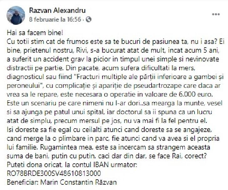 """Un tânăr din comuna Targsorul Vechi are nevoie URGENTĂ de o operaţie la picior.Este diagnosticat cu  """" Pseudartroză"""""""