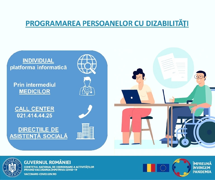 Opţiunile de programare la vaccinarea impotriva Covid 19  pentru persoanele cu dizabilităţi