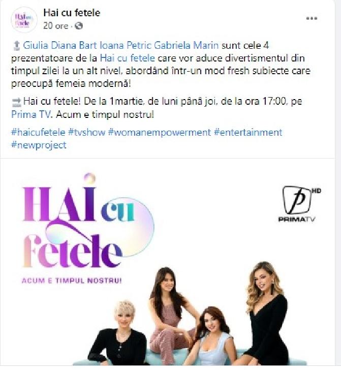 """"""" Hai cu fetele"""" pe Prima TV,din 1 martie 2021"""