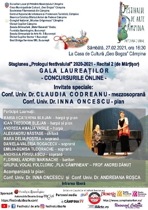 """Stagiunea """"Prologul festivalului"""" 2020–2021  -G A L A   L A U R E A Ţ I L O R PARTICIPANŢI LA CONCURSURILE ONLINE ALE FESTIVALULUI DE ARTE (FESTIVAL 4 ARTS)"""