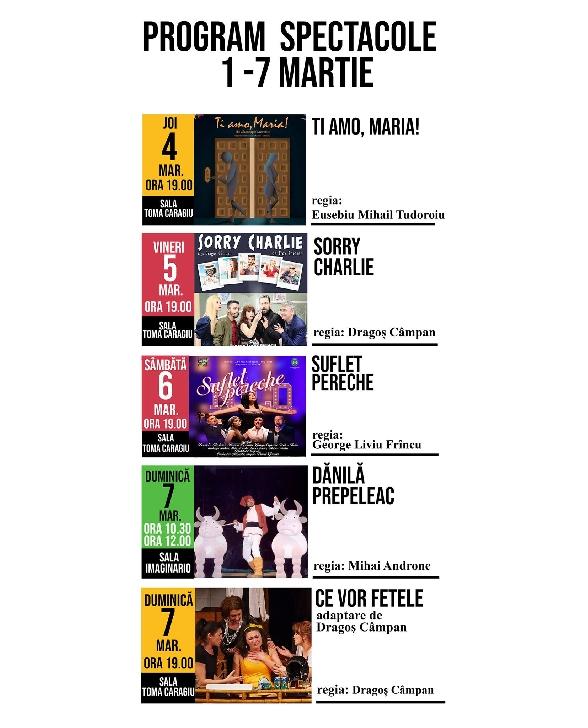 """Teatrul """"Toma Caragiu"""" Ploiesti .Programul spectacolelor in saptamana 1-7 martie 2021"""