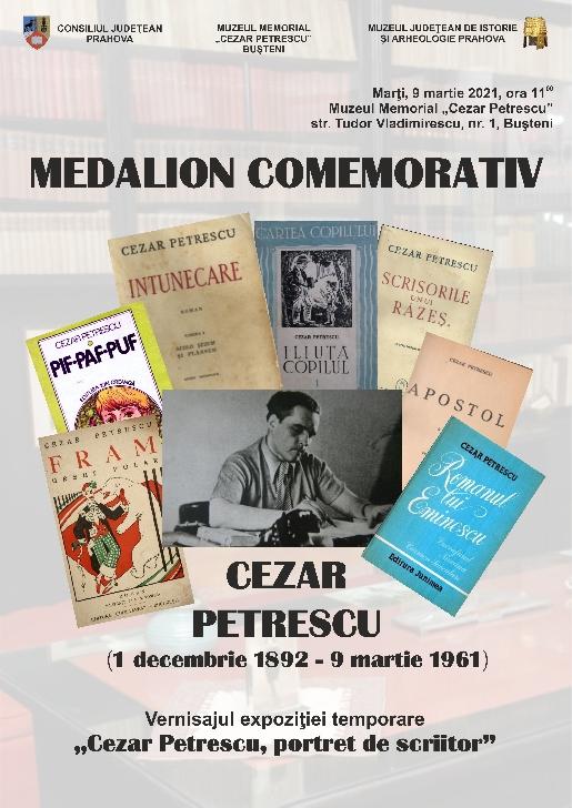 """Medalion comemorativ """"Cezar Petrescu"""" la muzeul din Busteni"""