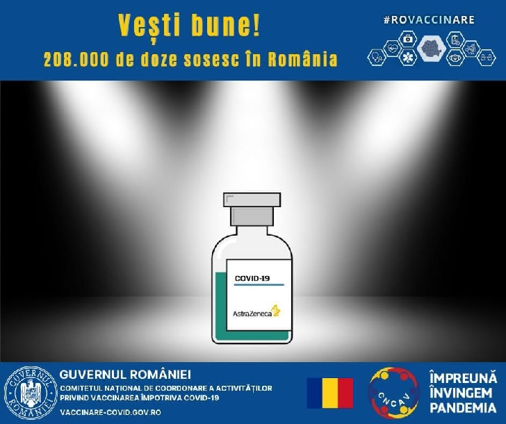 O nouă tranşă de vaccin  AstraZeneca,208.000 de doze, va sosi în ţară pe cale terestră
