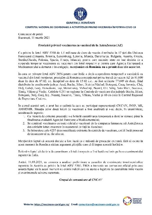 Comunicat DSP  . În judetul Prahova nu a ajuns nicio doză din lotul de vaccinuri AstraZeneca