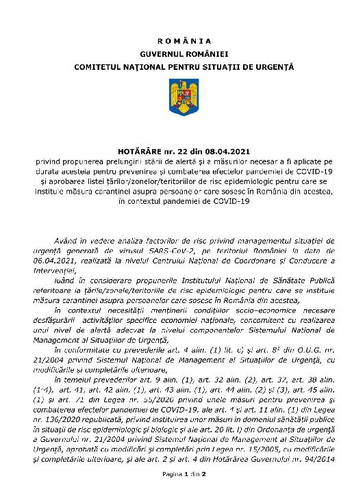 Comitetul Naţional pentru Situaţii de Urgenţă a adoptat prelungirea starii de urgenta