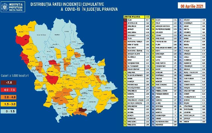 RATA INCIDENŢEI CUMULATIVE A COVID-19 PE LOCALITĂŢI (UAT) LA DATA DE 08.04.2021.7 unităţi administrativ-teritoriale din Prahova au o rată de infectare peste 4/1000 locuitori
