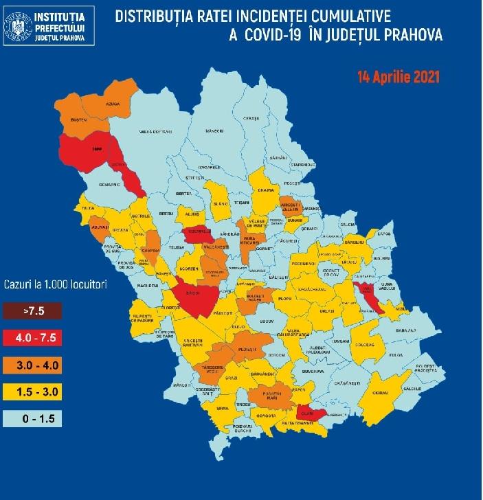 PRAHOVA.RATA INCIDENTEI CUMULATIVE A COVID-19 PE LOCALITATI (UAT) LA DATA DE 14.04.2021