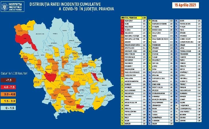 JUDETUL PRAHOVA . RATA INCIDENTEI CUMULATIVE A COVID-19 PE LOCALITATI (UAT) LA DATA DE 15.04.2021