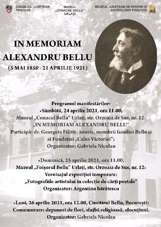 "IN MEMORIAM ALEXANDRU BELLU, la Muzeul ""Conacul Bellu"" din Urlaţi"