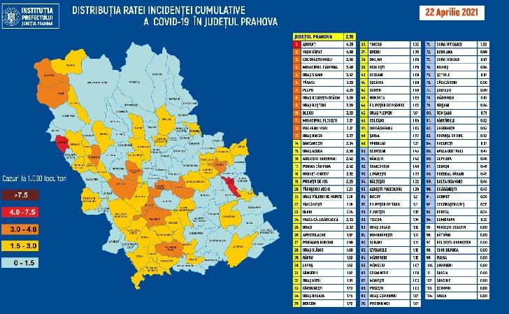 RATA INCIDENTEI CUMULATIVE A COVID-19 PE LOCALITATI (UAT) LA DATA DE 22.04.2021