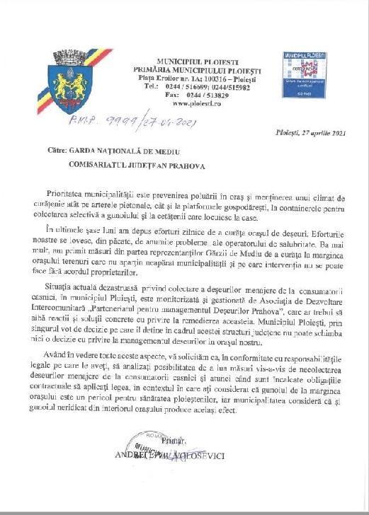 Primarul Municipiului Ploieşti, Andrei Liviu Volosevici, a demisionat din calitatea de membru al Consiliului director al  A.D.I. Deşeuri Prahova