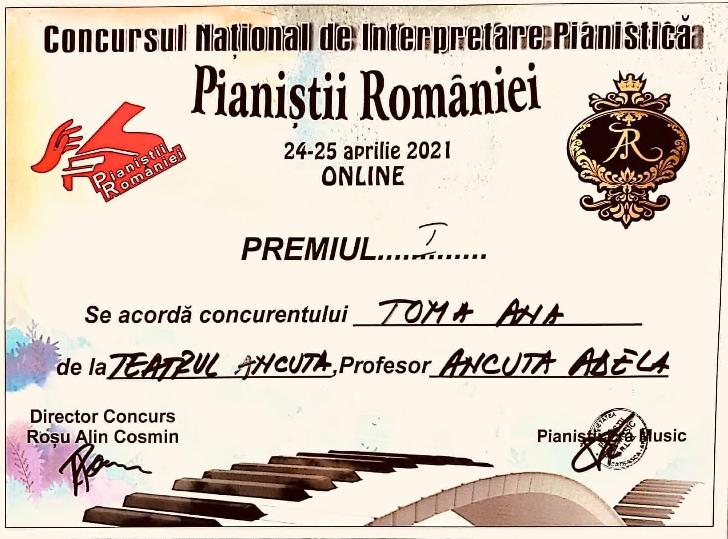 Trei premii locul 1 castigate de Teatrul Ancuta Ploiesti la Concursul National de Interpretare Pianistica