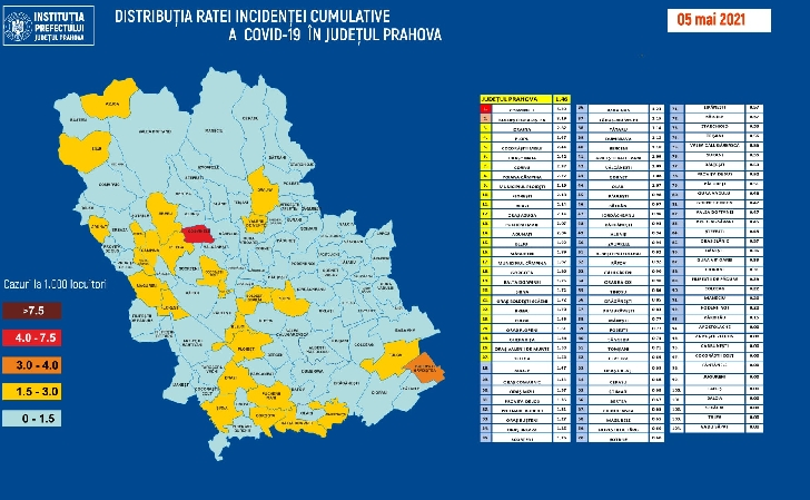 JUDETUL PRAHOVA. RATA INCIDENTEI CUMULATIVE A COVID-19 PE LOCALITATI (UAT) LA DATA DE 05.05.2021