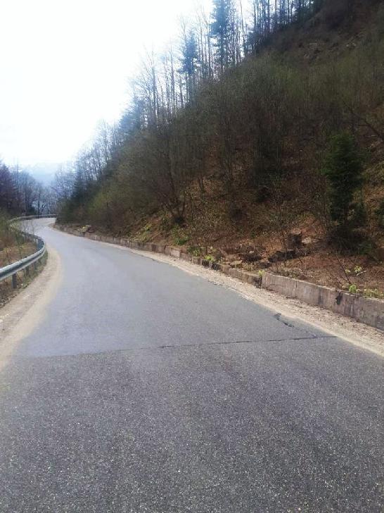 Atenţie la căderile de pietre şi blocuri de stâncă de  pe DJ 713 , între km 2+300 şi 2+500