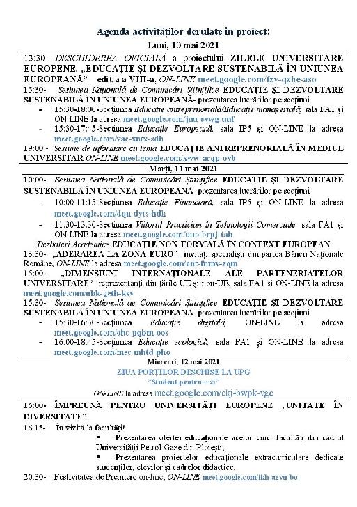 """ZILELE UNIVERSITARE EUROPENE  """"Împreună pentru Universităţi Europene""""  10-12 mai 2021"""