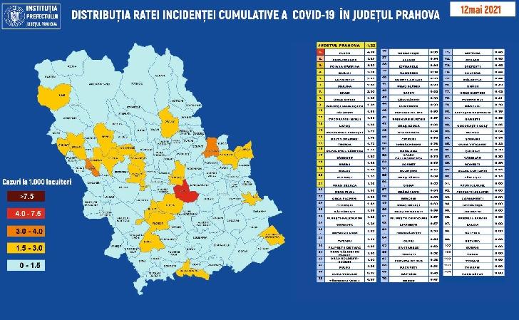 JUDETUL PRAHOVA.RATA INCIDENTEI CUMULATIVE A COVID-19 PE LOCALITATI (UAT) LA DATA DE 12.05.2021