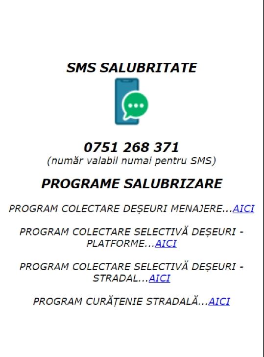 Primăria Municipiului Ploieşti pune la dispoziţia cetăţenilor un număr de sms privind curăţenia pe căile publice şi colectarea deşeurilor menajere din oraş
