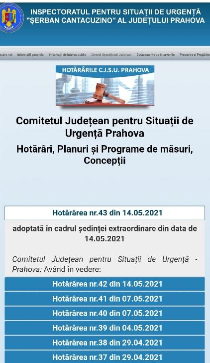 Comitetul Judeţean pentru Situaţii de Urgenţă Prahova a adoptat  Hotărârea nr. 43/2021