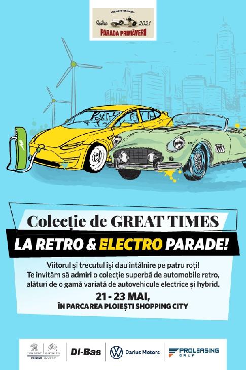 Colecţie spectaculoasă de maşini retro, hibride şi electrice, prezentată în parcarea Ploieşti Shopping City, în cadrul Retro & Electro Parade