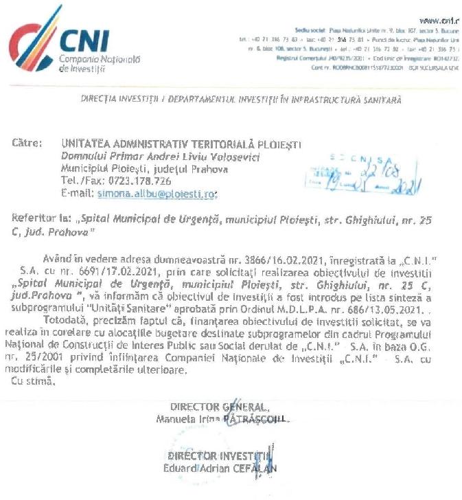 """Proiectul """"Spitalul  Municipal de Urgenţă Ploiesti"""" a fost inclus pe lista sinteză a subprogramului """"Unităţi Sanitare"""""""