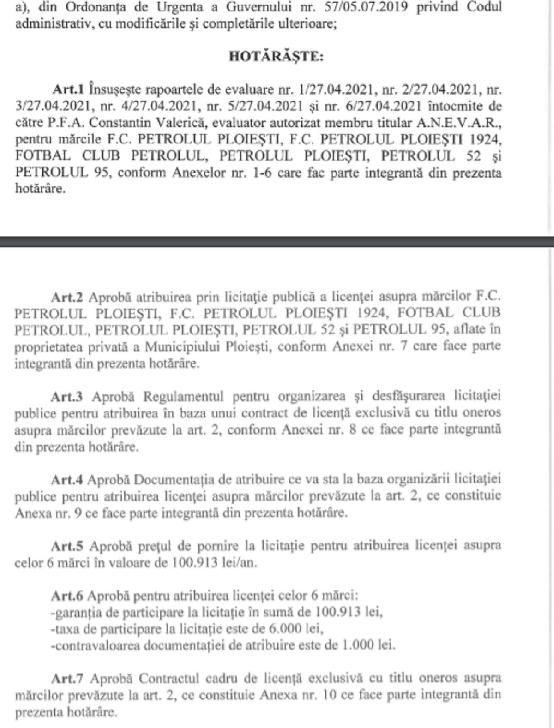 Mărcile echipei Petrolul Ploieşti vor fi scoase la licitaţie. Criterii de performanţă propuse de Primăria Ploieşti (vezi documentul)