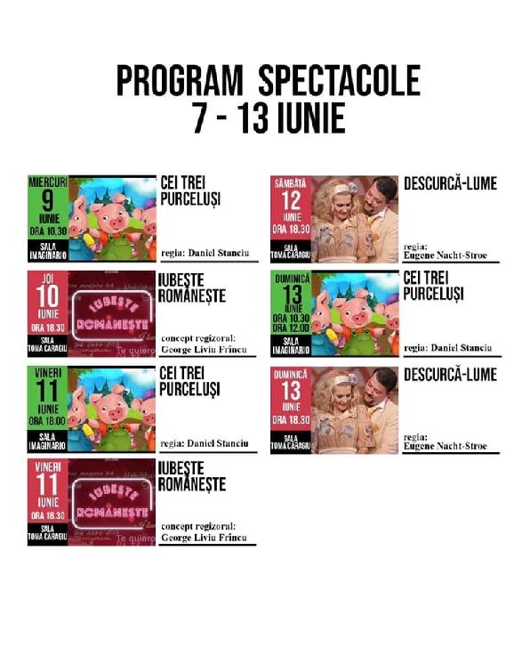 """Teatrul """"Toma Caragiu"""" Ploiesti. Programul spectacolelor. 7-13 iunie 2021"""