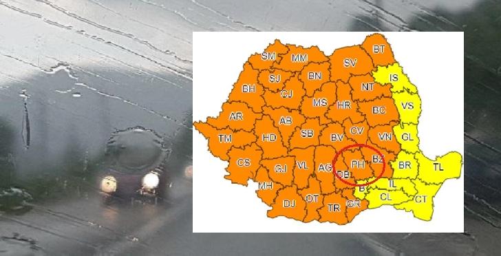 COD PORTOCALIU de instabilitate atmosferică deosebit de accentuată, in Muntenia