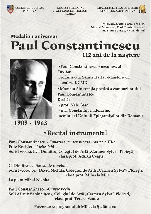 Medalion aniversar: Paul Constantinescu - 112 ani de la naştere