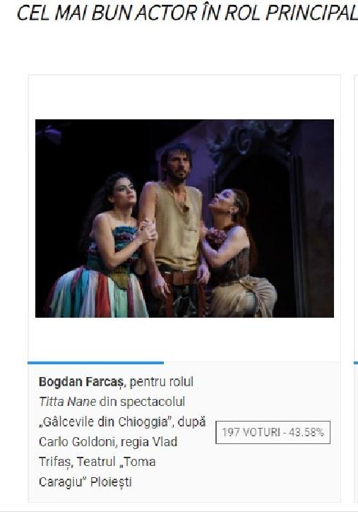 """Bogdan Farcas, actor al Teatrului """"Toma Caragiu"""", a fost nominalizat la categoria """"Cel mai bun actor in rol principal"""". Sa-l votam la Gala  Premiilor UNITER"""