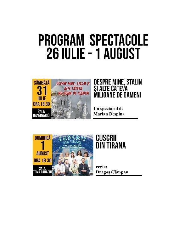 """Ocupa-ti locul.Spectacolele Teatrului """"Toma Caragiu""""  in perioada 26 iulie – 01 august 2021"""